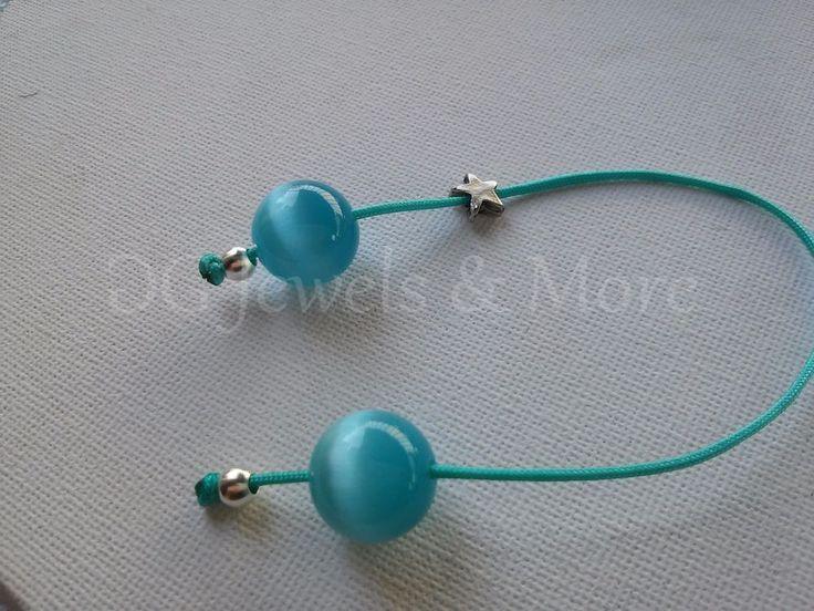 Greek begleri aqua cat eye 14mm bead charm turquoise cord star tinas creations