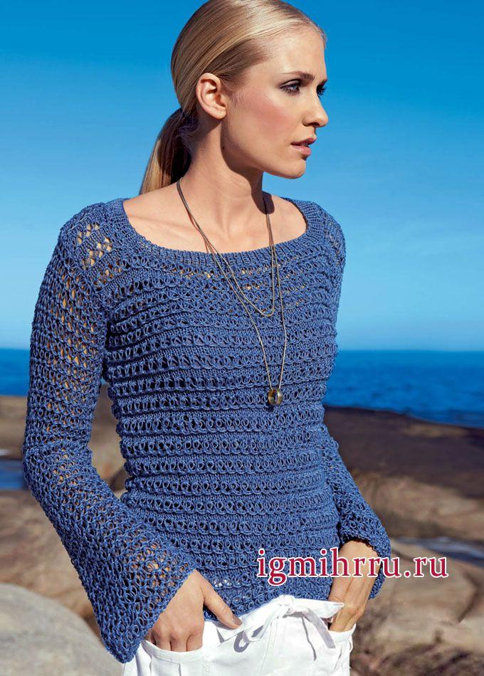 Женственная и элегантная классика. Синий пуловер с узором-сеткой. Вязание спицами