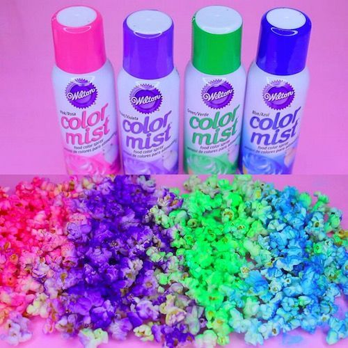 Make neon popcorn with food coloring spray! I love this idea! More great ideas follow me at www.pinterest.com/GetYourHolidayOn