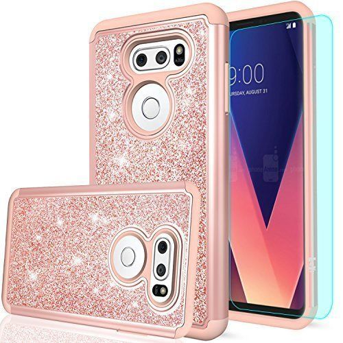 LG V30 Case HD Screen Protector Dual Layer PC Silicone Leather Cover Glitter New #LGV30