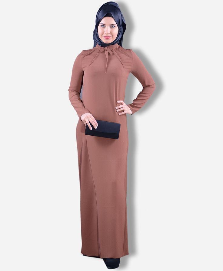 Yakası Fiyonklu Elbise - LR8030