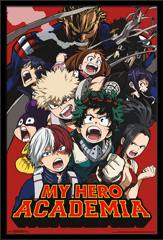 16 x 20 inches My Hero Academia School Compilation Anime Poster Framed in Black