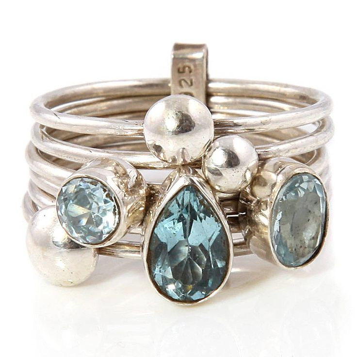 handmade aquamarine silver stacking ring by charlotte's web | notonthehighstreet.com