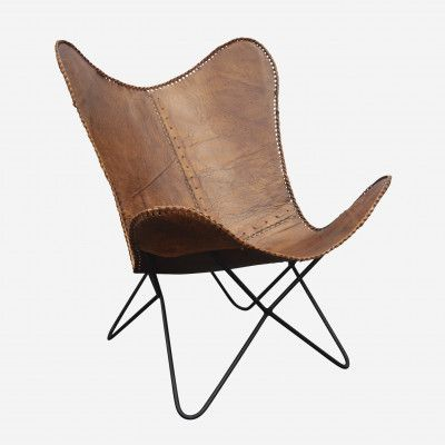 Redcurrent Tan Leather Butterfly Chair $595.00.