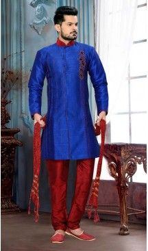Men's ArtSilk Fabric Blue Color Sherwani #sherwani, #wedding, #mens, #fashion, #boutique, #indowestern, #kurta, #pajama, #turban, #safa, #heenastyle, #man, @heenastyle , #indian, #clothing, #style, #henna, #ethnic, #wear, #royal, #readymade