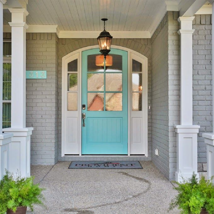 For Jana - Light gray for brick, couples shades darker for shutters, white trim. Crazy bright color for door (bright blue, bright orange/red, purple?)