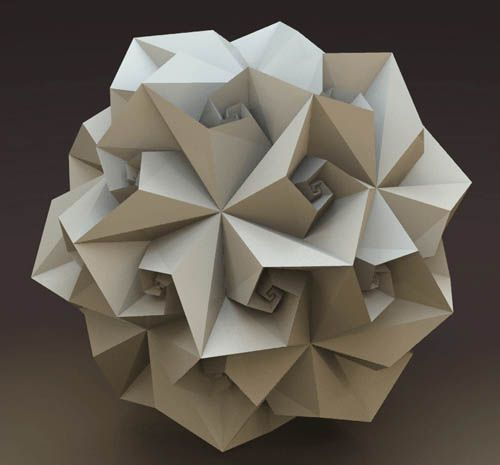 a spidron is a continuous flat geometric figure composed entirely of triangles, where, for every pair of joining triangles, each has a leg of the other as one of its legs, and neither has any point inside the interior of the other