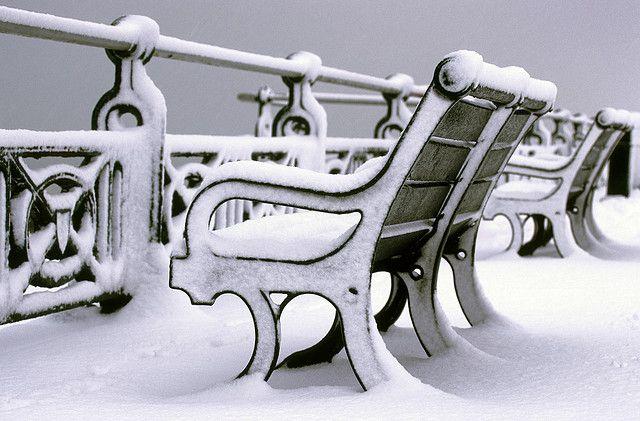 Bench in the snow, Brighton promenade