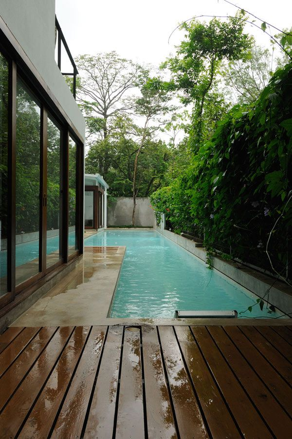 narrow pool - great use of space  Costa rican home by  Datumzero Design