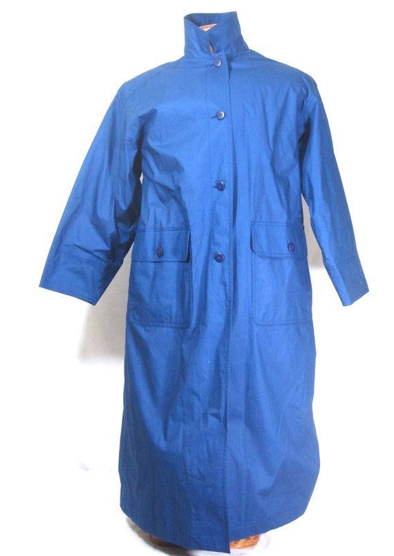 Eddie Bauer Womens Raincoat Medium Petite Jacket Blue Waterproof Vintage Duster Coat