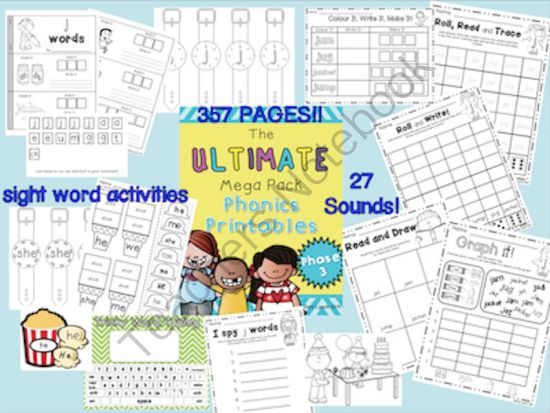 Ultimate Phase 3 Phonics Pack from MissLynch'sClass on TeachersNotebook.com - - My brand new phonics mega pack - 357 pages of activities covering 27 sounds for early readers. Download the preview for a sneak peak!