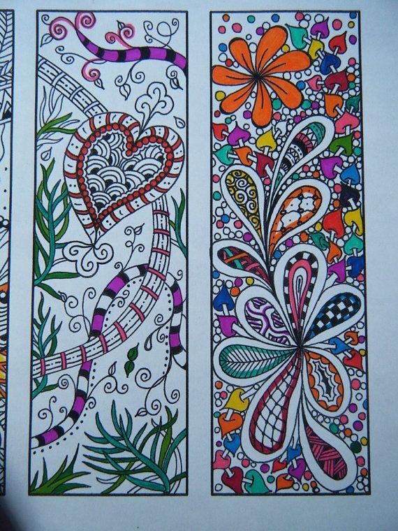 Zentangle Bookmarks - Printable Bookmark Coloring Page - Zentangle Inspired - Digital Download - Bookmark Number 1