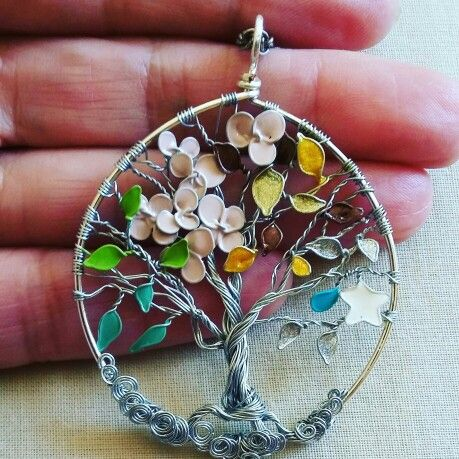 Tree of Life Wirework nail enamel art The Four Seasons
