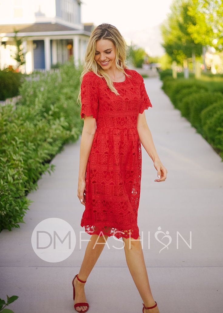 33d672dad43 Stassi - Crochet Lace Dress in Ruby Red - FINAL in 2019