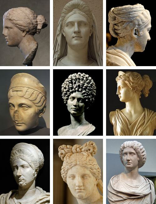 A few of the hairstyles Roman women would wear. Sometimes they would go to the extreme and put it all up and sew it with a needle and thread.