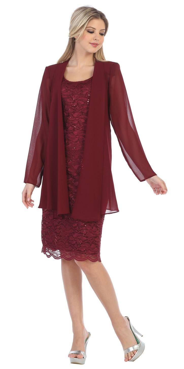 Lace knee length semi formal dress with long sleeve jacket gold
