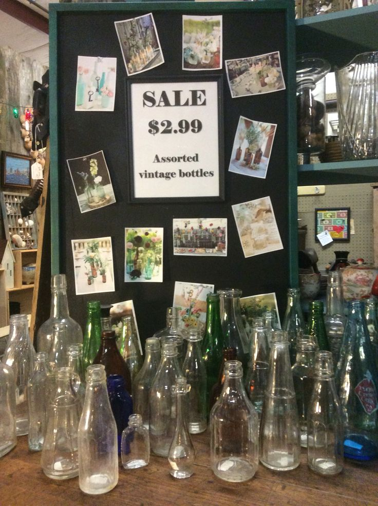 Lots of vintage bottles on sale in the shop! Great for crafts or decor.