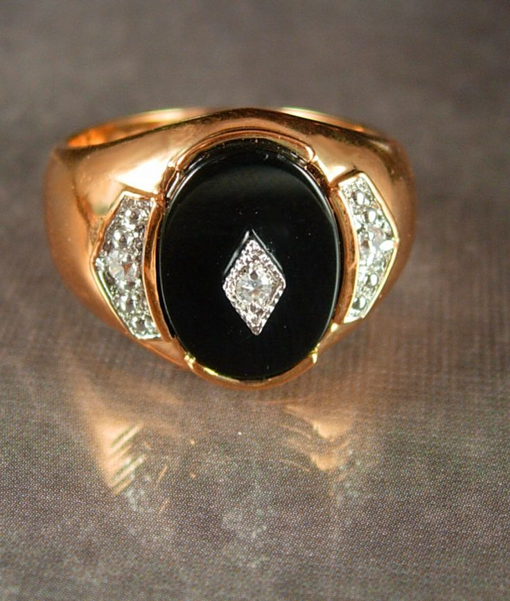 Mens Onyx ring gold cz's size 13 wide band mens fine jewelry Black Gothic jewelry edwardian style 14kt Ge by NeatstuffAntiques on Etsy https://www.etsy.com/listing/263089007/mens-onyx-ring-gold-czs-size-13-wide
