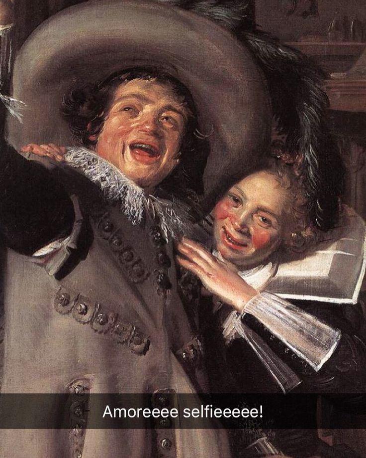 Scusate ragazzi ma ho appena ricevuto su Snapchat questo snap meraviglioso da @iamkecca che ha beccato questo quadro mentre sfogliava il suo libro d'arte. Siete i migliori io vi amo. Ahahahahah Yonker Ramp and his Sweetheart - Frans Hals (1623) #seiquadripotesseroparlare #stefanoguerrera