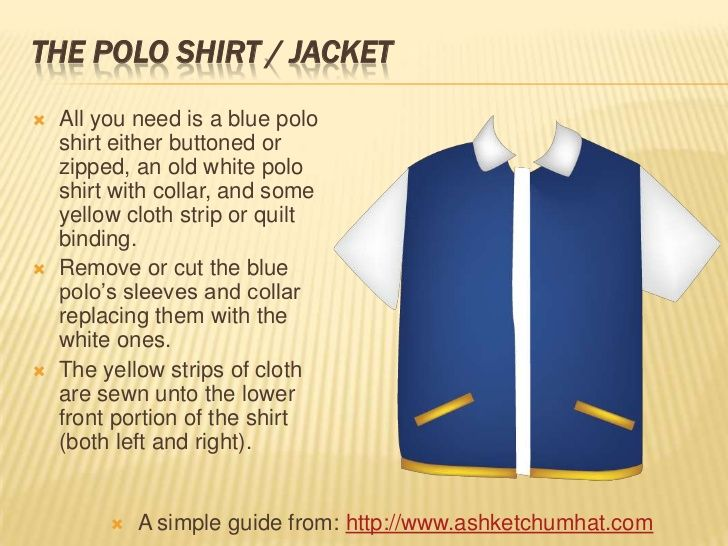 THE POLO SHIRT / JACKET   All you need is a blue polo    shirt either buttoned or    zipped, an old white polo    shirt w...