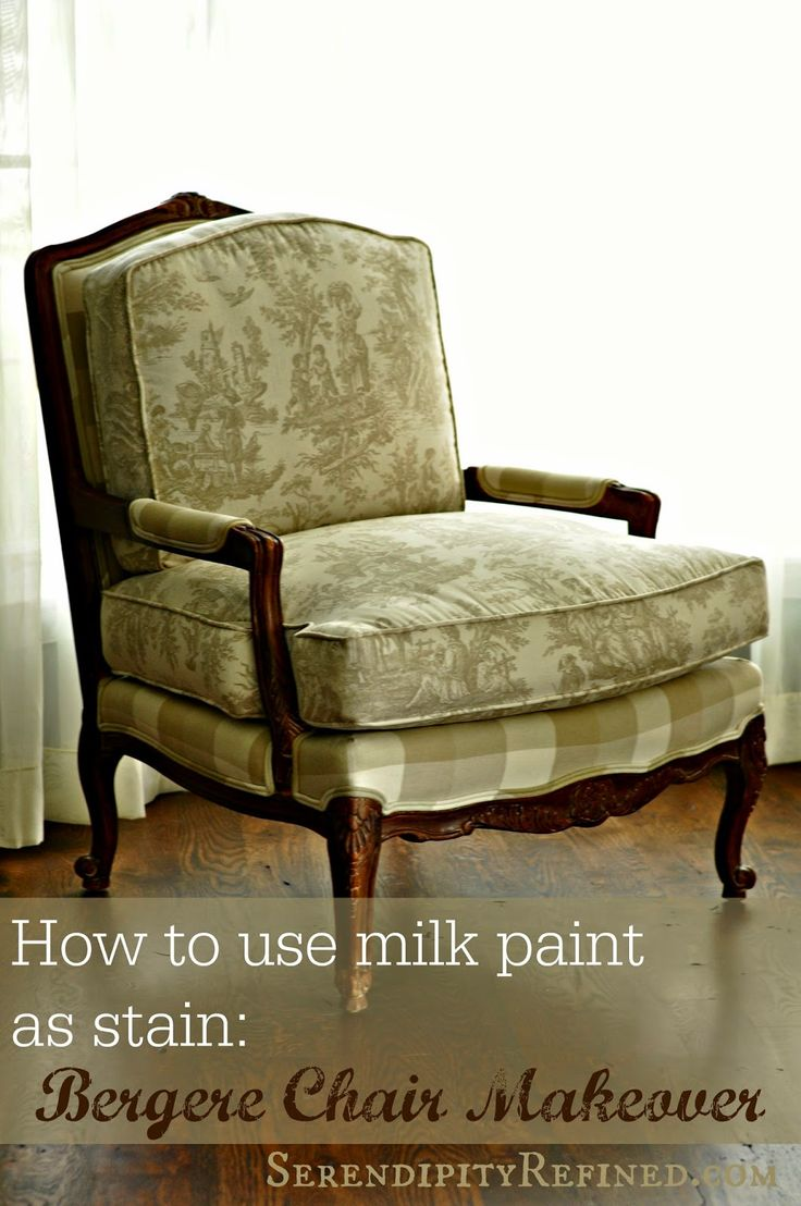 """Milk Paint """"Stained"""" French Bergere Style Chair Makeover"""
