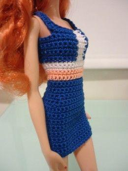 Barbie Colorblocked Panel Sheath Dress (Free Crochet Pattern)