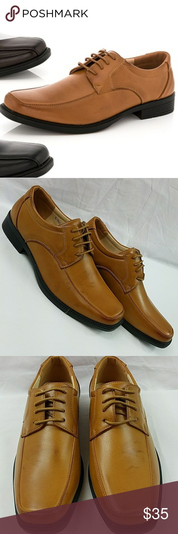 Mens Tan Leather Lace Oxford Size 7.5 Franco Vannuci Leather Lining Brand New In Box Never Worn   341 Shoes Oxfords & Derbys