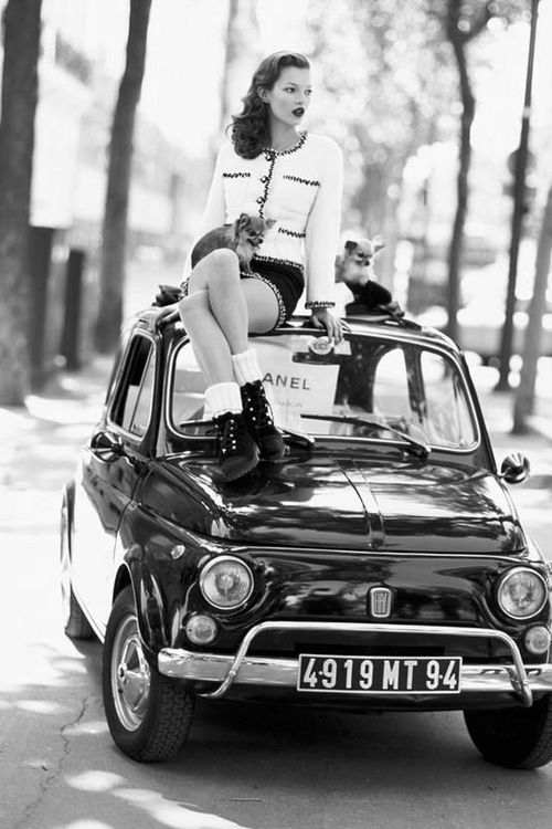 Chanel Fashion Beauty Posing on FIAT 500 ♥ App for your Fiat ★ Fiat Warning Lights guide, is now in App Store https://itunes.apple.com/us/app/app-for-fiat-fiat-warning/id954160827?ls=1&mt=8