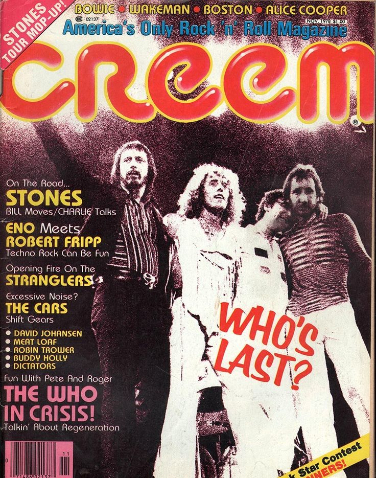 item details: Entire Issuekeywords: The Who, Rolling Stones, ENO, Robert Fripp, The Cars, Boston, Alice Cooper, Wakeman, David Bowie,StranglersCreem (which is always capitalized in print as CREEM desp
