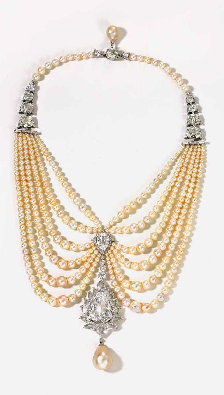 """Swag"" necklace; Viren Bhagat; Bhagat, Mumbai, 2011; platinum, pearls, diamonds; length: 10.5 cm (pendant) Private collection"