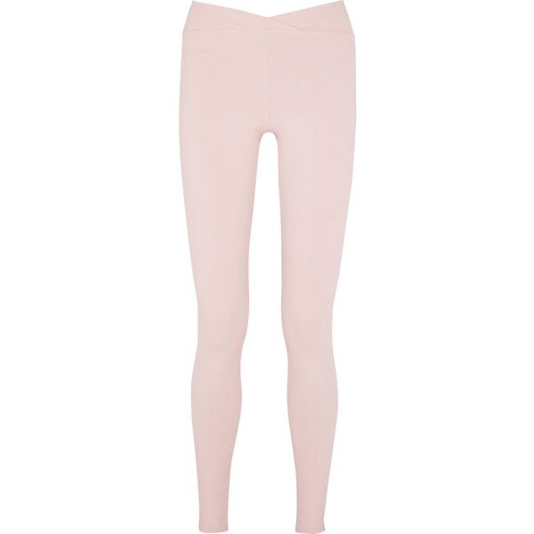 LIVE THE PROCESS   V stretch-Supplex® leggings ($71) ❤ liked on Polyvore featuring pants, leggings, pastel pants, stretch pants, pink trousers, pastel leggings and pull on leggings
