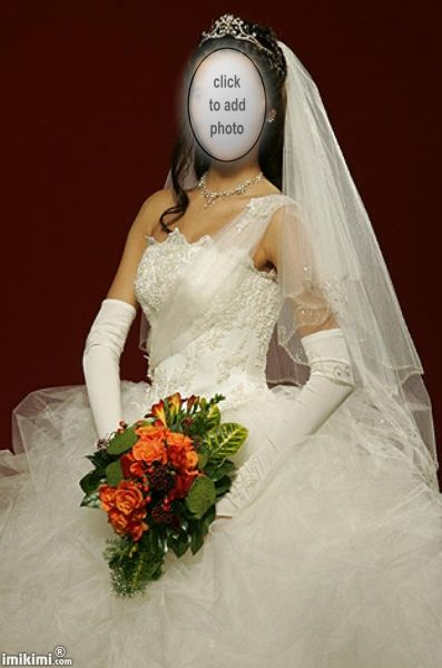 Tulle tulle tulle! Long gloves, mid-length veil. Click to add your face and see if this style and color of wedding dress suits you.