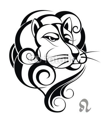Segno zodiacale Leone. Tattoo Design