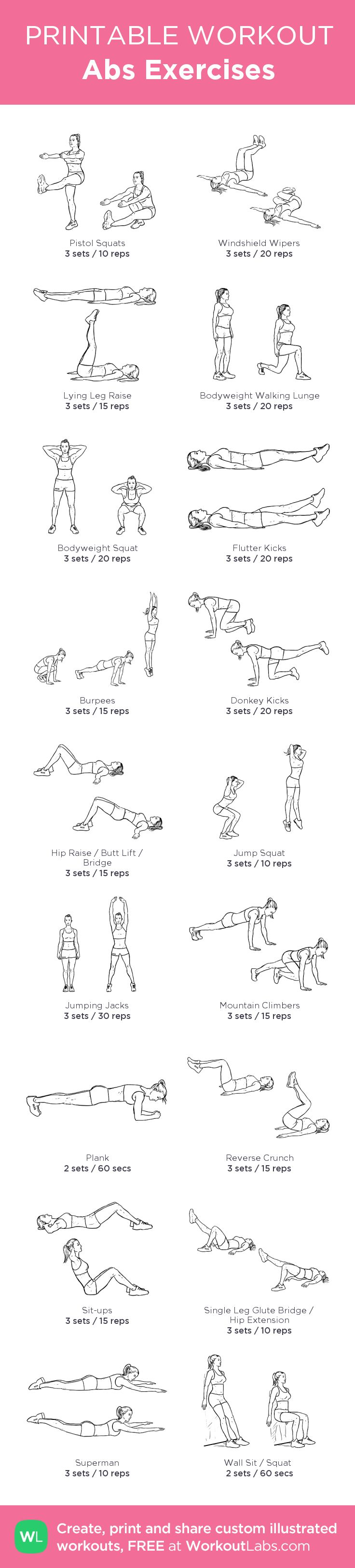 Abs Exercises:my custom printable workout by @WorkoutLabs #workoutlabs #customworkout
