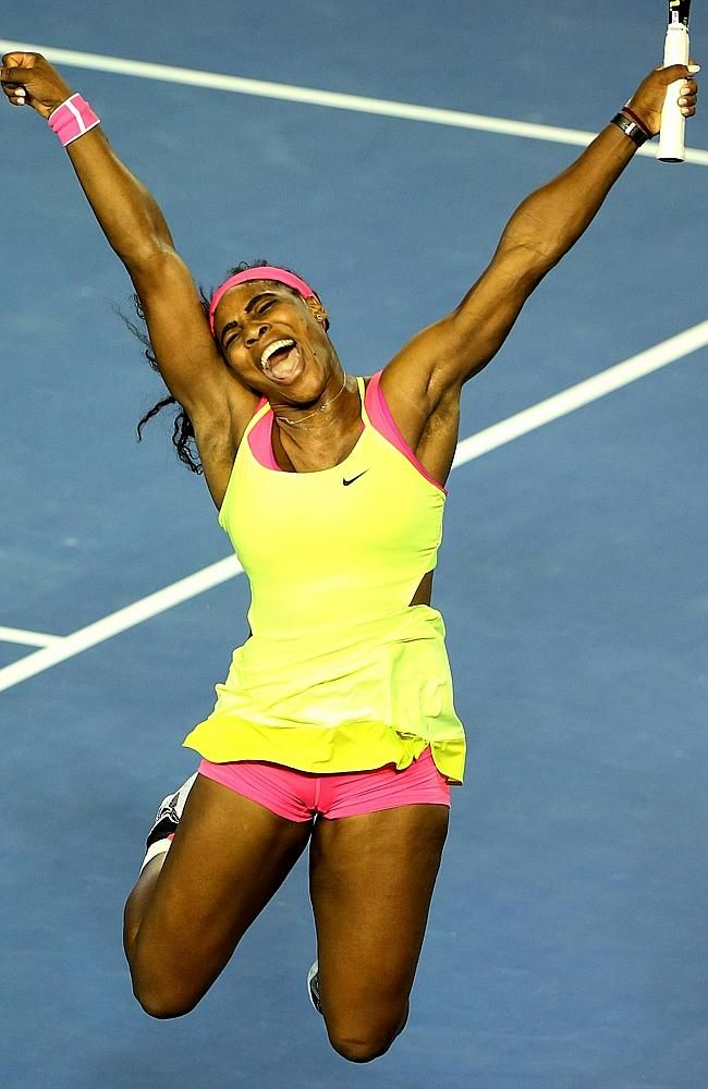 Serena Williams celebrates her win against Maria Sharapova on Rod Laver Arena. Picture: Mark Stewart