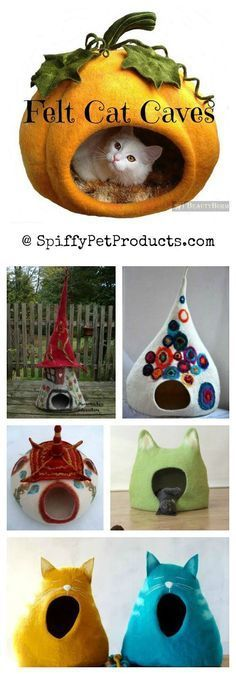 Felted Cat Caves: Whimsical Sculpted Cat Bed Ideas that make great gifts for cat lovers everywhere. and like OMG! get some yourself some pawtastic adorable cat shirts, cat socks, and other cat apparel by tapping the pin!