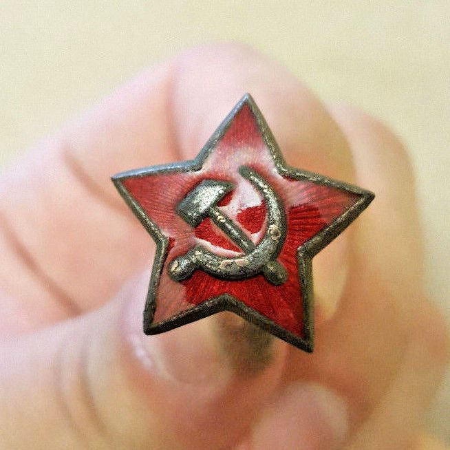Original Soviet Russian Army Officer's Red Star Hat Badge WW2 Sale Militaria