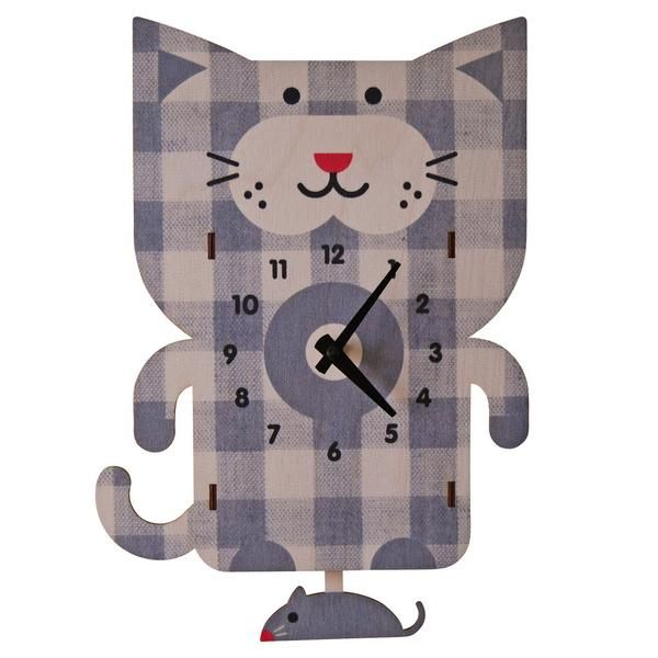 kids clock cat pendulum clock