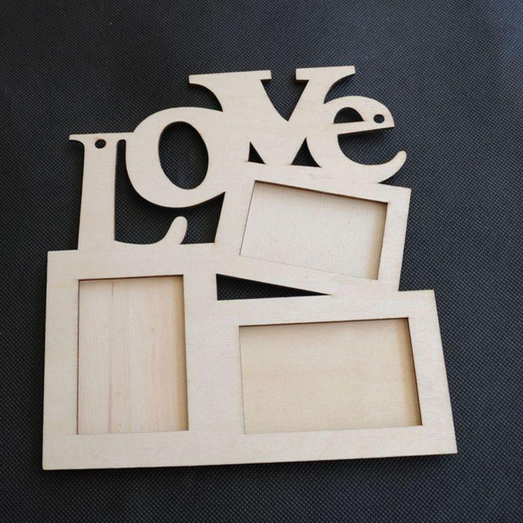 Encontrar Más Marcos Información acerca de Lote 3 unids hueco marco de amor de madera Base blanco Picture Frame DIY Art Decor envío gratis, alta calidad Marcos de wisefield en Aliexpress.com