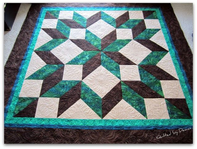 Carpenter's Star    Now this is a very classic quilt pattern and a perfect one for a beginner to do. We recommend you try this one, after you've made a couple of simple quilts and are ready for a bigger challenge as a quilter!