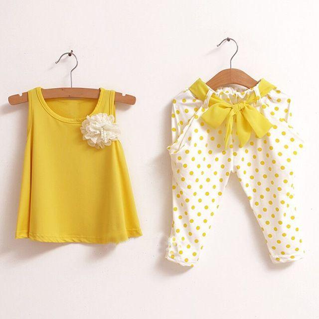 Nouveau design enfants vêtements d'été jeu enfant fleur femelle gilet à pois sarouel twinset