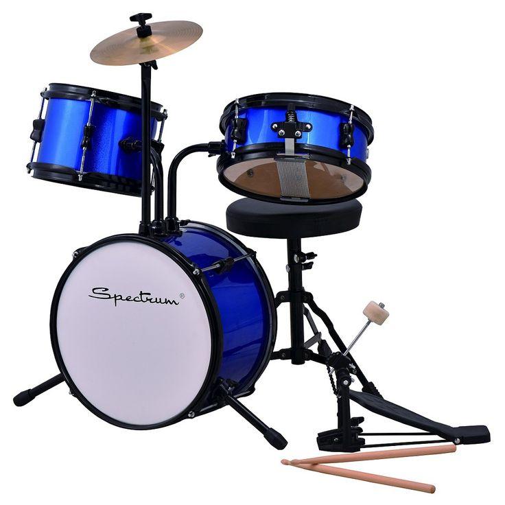 Spectrum Ail 610B 3pc Junior Drum Set with Crash Cymbal & Drum Throne - Blazin' Blue, Bright Blue