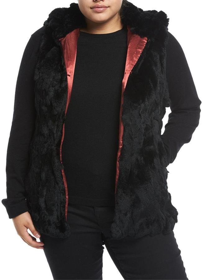 P. Luca Plus Hooded Rabbit Fur Vest, Plus Size