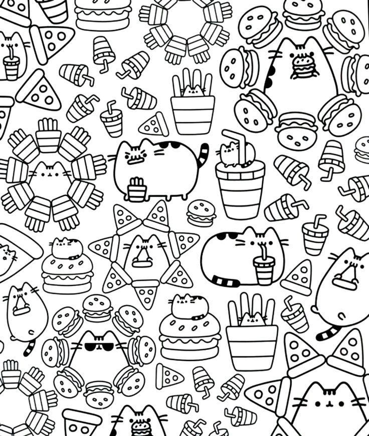 Pusheen Pusheen coloring pages, Cute coloring pages