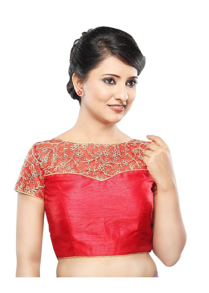 Designer Red Net Back Open Ready-made Saree Blouse Choli SNT X-356-SL – Saris and Things