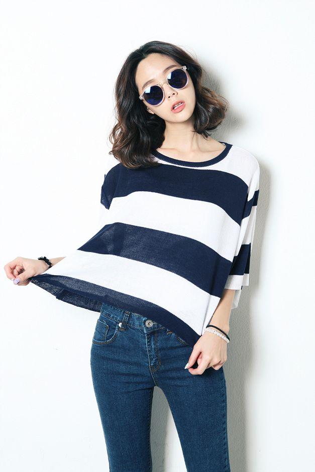 Stripe Loose Fit Knit OP > kimlala.com