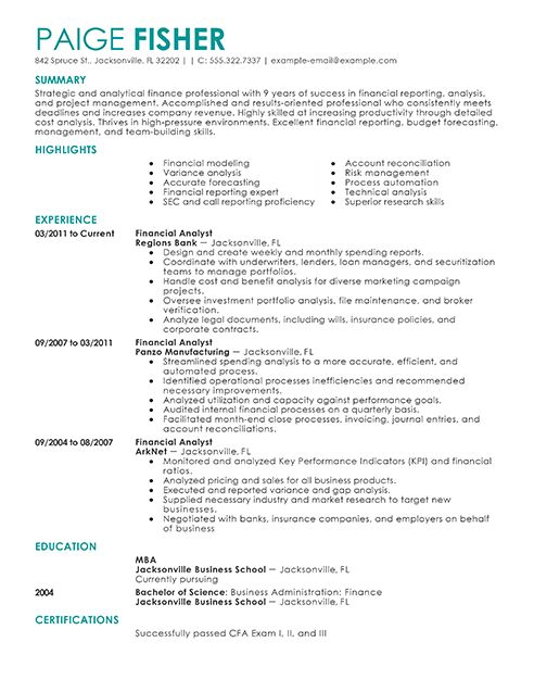 36 best For You images on Pinterest Colleges, Gym and School - resume for financial analyst