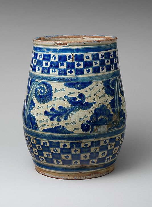 Flower Pot Date: 1750–80 Geography: Mexico Culture: Mexican Medium: Majolica earthenware Dimensions: H. 13 1/2 in. (34.3 cm) Classification: Ceramics Credit Line: Gift of Mrs. Robert W. de Forest, 1917  Met, 17.108.15
