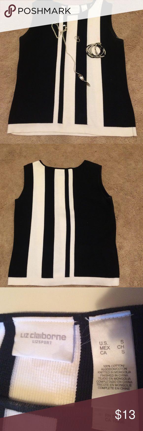 "Sleeveless sweater Liz Claiborne black and white sleeveless sweater. Chest 17"". Length 21"" Liz Claiborne Sweaters"