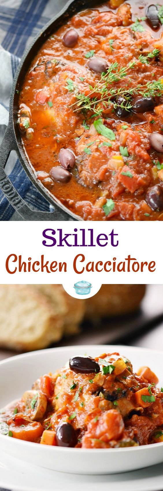 This simple, rustic Skillet Chicken Cacciatore will become a family favorite with it's vibrant flavors and fall off the bone deliciousness! #paleo #whole30 #skilletmeals #chicken #italian via @cookwithcurls